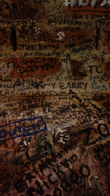 Graffiti covers the wall in the Cavern Club.