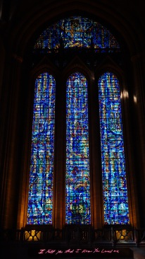 I felt you and I knew you loved me. Stained glass in the cathedral.