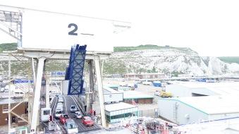 A view from the upper decks of the gargantuan ferry.