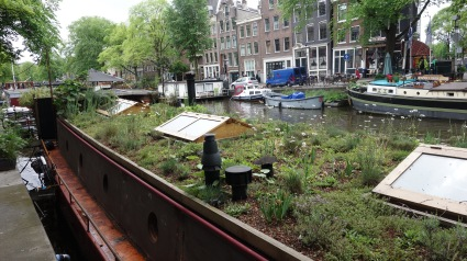 A houseboat with a living roof. Design inspo!