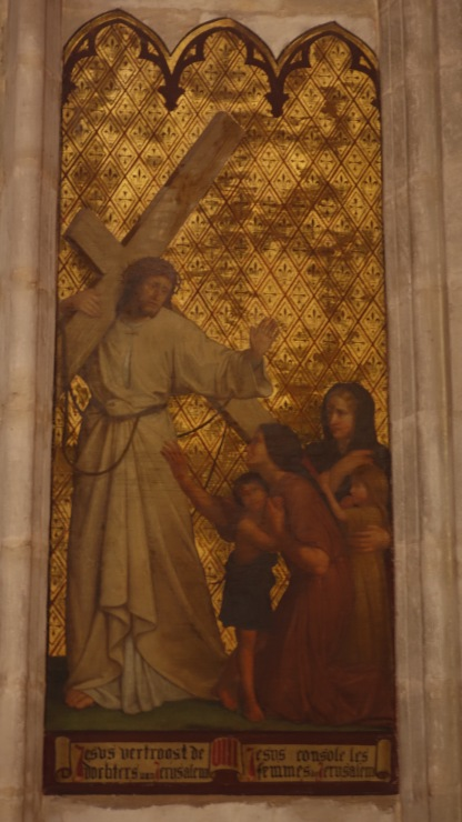 A beautiful painting in Chapel Church, of Jesus comforting women in Jerusalem as he carries the cross. The looks on their faces - and his - are touching.