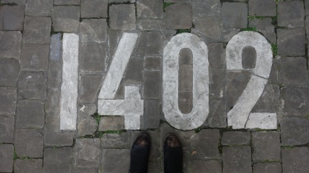 This is not a street number - it is a construction date, of the Town Hall in Brussels.
