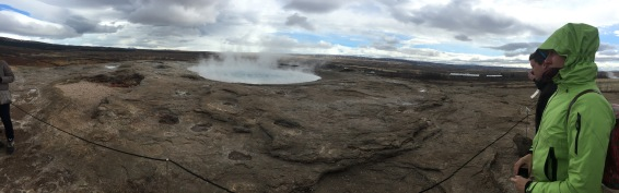 A geyser called Strokkur, which we saw erupt twice.