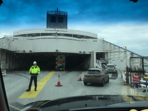 Driving onto the car ferry in Dover