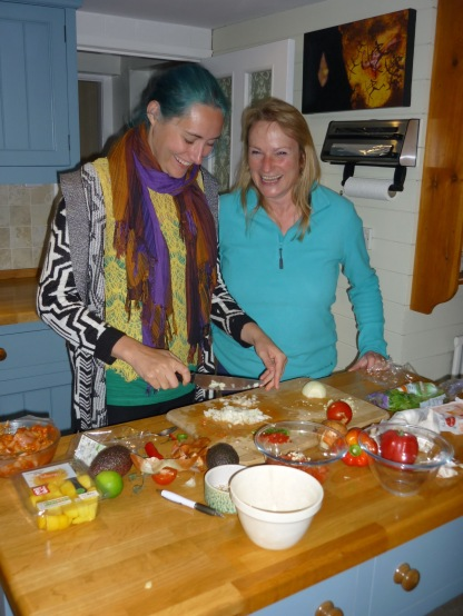 With Louise, having a lovely time making a Mexicali feast