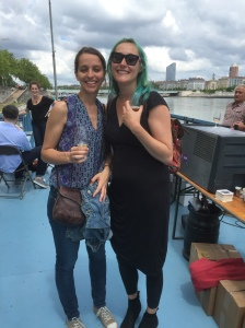 With Berangere in Lyon- we found a barge on the Rhone river that was doing wine, beer, and food tasting. I had octopus in a crepe with herbs and cream!