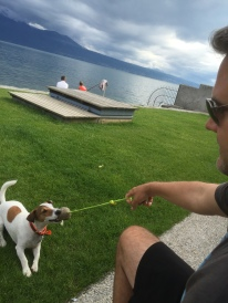 Luke made a friend on the shores of Lake Geneva