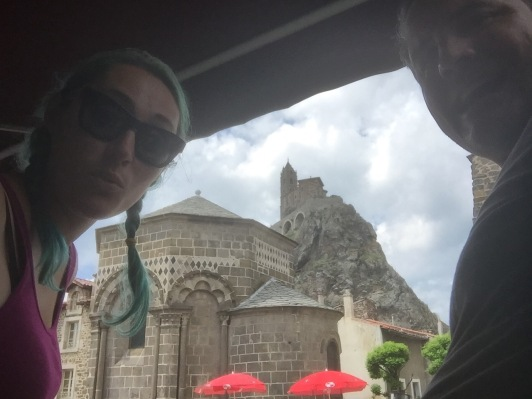 Ohhhhh, ancient church (960, in Le Puy-en-Velay, France). Selfie location: lil' church side cafe.