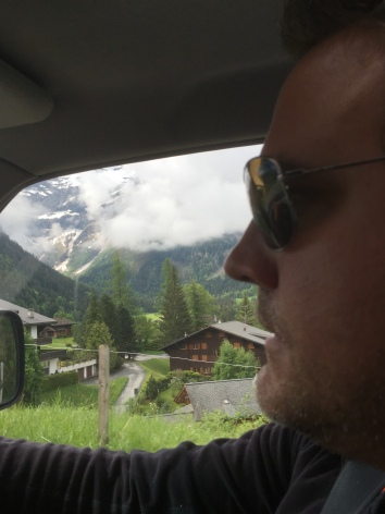 Driving up into the Swiss mountains above Lake Geneva