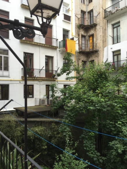 The view from our little balcony in our guesthouse in San Sebastian - an internal courtyard for the whole block.