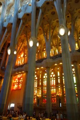 And we get inside. The light on this side of the church is warm for the afternoon sun; the otherside is cool for the morning sun. The columns are indeed meant to look like trees, as they do. It's spectacular.