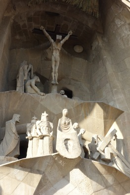 The exterior side of the church that depicts the crucification. Look at Jesus. Also, note that the soldiers are wearing scary storm trooper helmets.