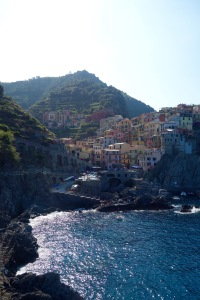 Cinque Terre is a group of five villages without car access that were built on the side of mountains rising above the Mediterranean. This one is Manerola.
