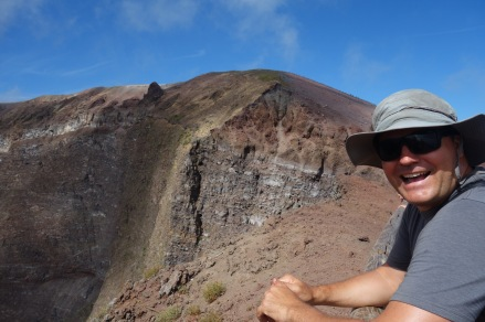 Luke and the crater. He's so excited.