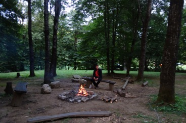 Luke in his element. Alcohol, fire, and a sharp axe. (This has ever disturbed me before, until I wrote caption)