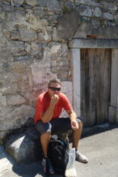 Taking a pumpkin seed break on the way to the caves, in the village of Skocjan.