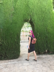 Entering the gardens of the Generalife, a palace complex connected to the Alhambra.