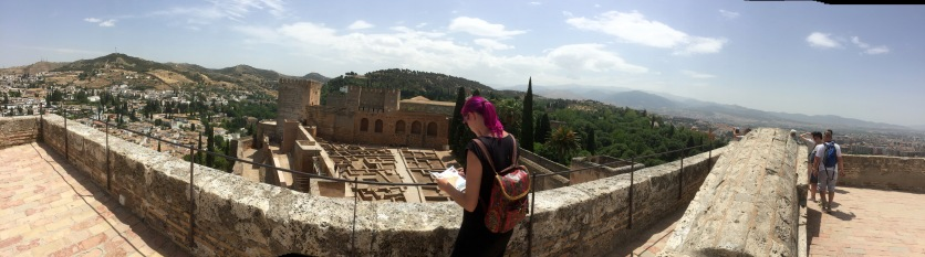 Looking over the military section of the Alhambra from the top of the highest fort tower.