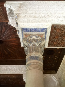 Many of the plaster carvings would have been painted in bright colours. Here's a recreation.