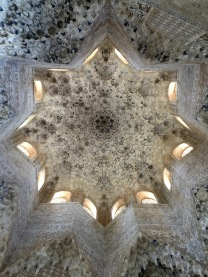 Look at this ceiling! As all of this Islamic architecture, there's heaps of symbolism in it. For example, the stalactite shapes represent the cave where Mohammed received the Koran.