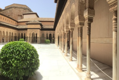 Inside the palace complex in the Alhambra.