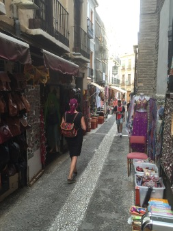 Lots of Moroccan wares to be had in the winding tourist alleys of Granada.