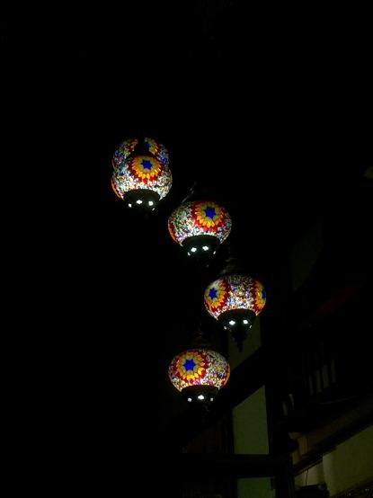 Lanterns in the tea room.
