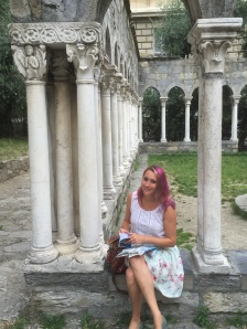 Sitting in the ruins of the convent next to the house where Christopher Columbus grew up.