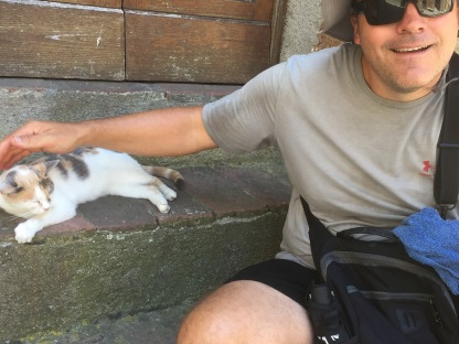 Pitigliano. Luke's happy pictures are always with cats.