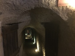 There were large underground rooms under the synagogue, built in the 1400's so that Jews could continue their religious activities while hiding from the persecution of the day. This tunnel leads to the kosher cellar.