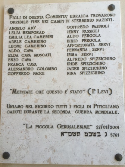 A list of Jewish Pitigliano residents who were murdered at the hands of the Nazis. This is one reason that a town with ancient Jewish history only has two Jewish people living in it today.