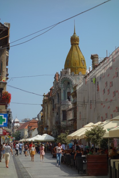 A view down Oradea's main street in the old town