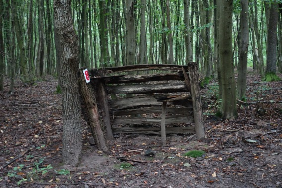 This is a shelter for people who are boar hunting in the woods. They sit there and shoot a boar when it runs in front of them.