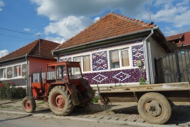 Purple tiles with a side of red tractor