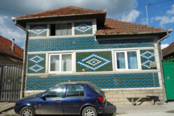 Along the drive south to Retezat National Park. There are lots of beautiful tiled houses like this in Romanian villages.