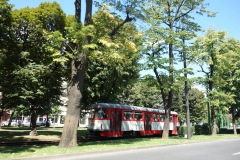 Charming Oradea. The street car tracks are set in grassy lawns.