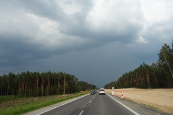 Driving out of Warsaw now, to the northeast.