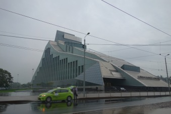 And now we enter Riga, the capital of Latvia. This is the national library, and also a slide for giant toddlers.