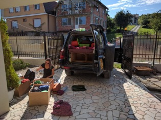 Packing up to leave Oradea for Russia