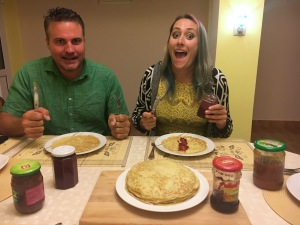 Maria made us crepes! We got home from the movies, and, boom, there's a stack of crepes. With homemade jams from another family member.