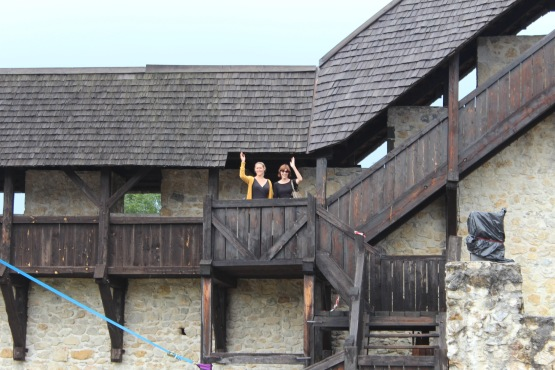 Greeting the cheering throngs of admirers at a safe distance at our castle in Celje