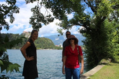 Before getting into our boat at Lake Bled