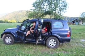 We pulled over to watch hang gliders (and weird motorized hang gliders) crisscross the valley on the way to Bovecs, Slovenia