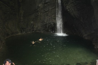 There we (Felice and Luke) are swimming to the waterfall - our skin tingled from the cold for ages after getting out