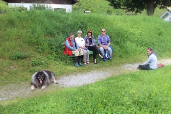 With Manfred, Huberta, and Cato the mountain dog (we still aren't convinced he's not just a ball of fluff and positive energy)