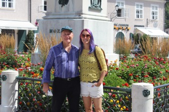 Tourist time with Dad! That's a Mozart statue! (Mozart is from Salzburg)