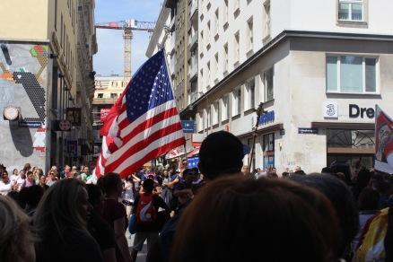 There was a (happy) demonstration outside of the cathedral, with people singing and dancing around an American flag and a cross. We thing it was to celebrate the Pope's journey from Wyoming to Krakow, really not sure of the details here.