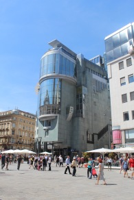 a famous modern building by the cathedral.