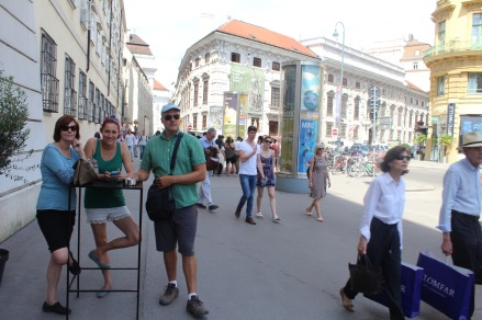Taking a break from an epic day of walking in Vienna.