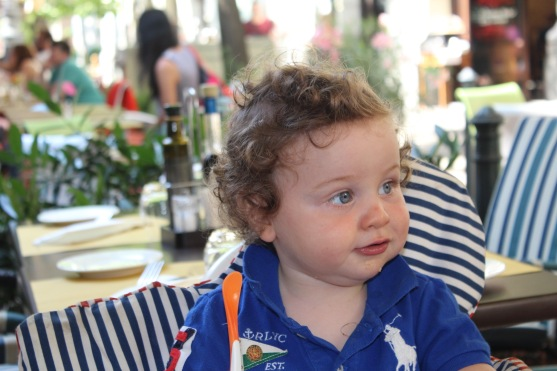 Look at little Henry! How adorable is he?? And he's just sitting at lunch, chilling, like the cosmopolitan lil bubby that he is.